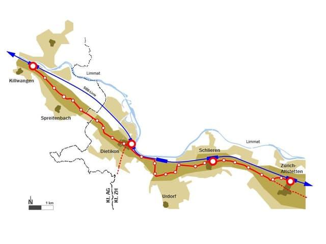 Streckenführung der geplanten Limmattalbahn