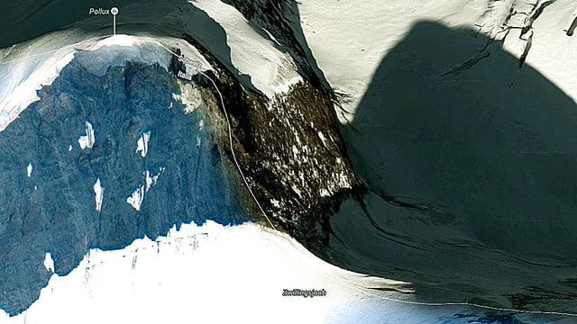 Google-Earth-Ausschnitt des Zwillingsjochs mit dem Pollux