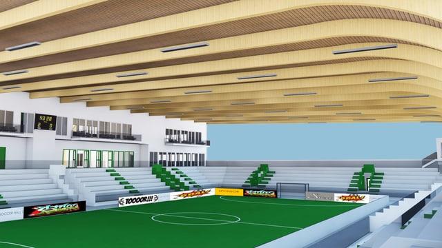 Skizze einer Sporthalle.