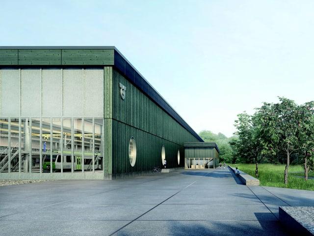 So soll das neue Depot aussehen: Ein schlichter Bau mit Bäumen umringt.