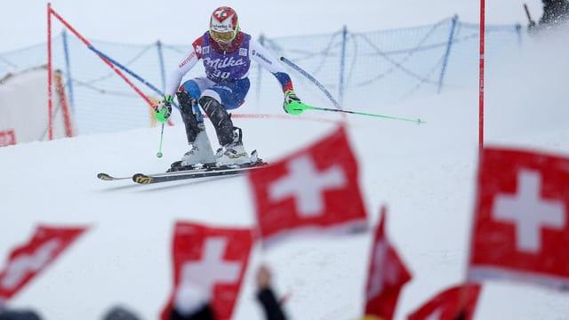 Luca Aerni beim Slalom von Wengen.