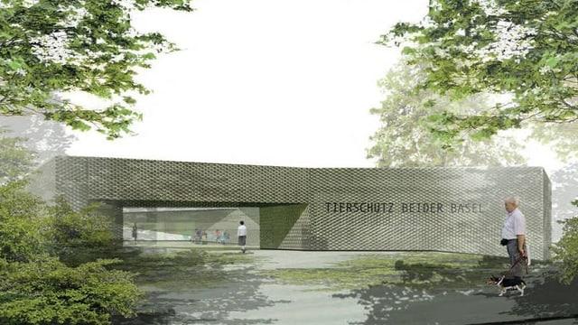 Visualisierung des Eingangsbereichs des Tierheims.