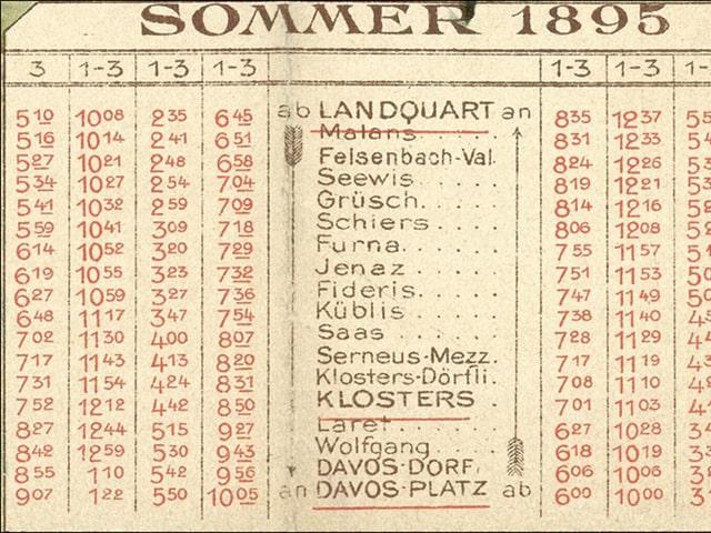 Sommerfahrplan 1895 auf vergilbtem Papier.