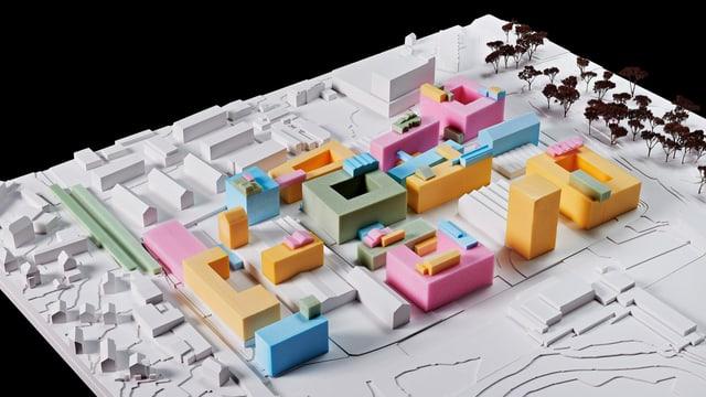 Modell eines neuen Berner Stadtquartiers.