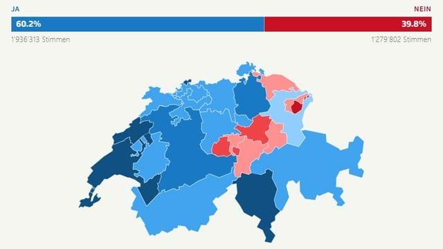 Schweizer Karte mit den Resultaten der Kantone.