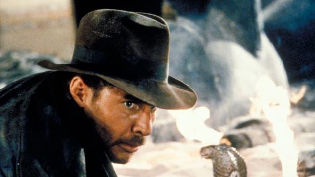 Mann mit Hut vor Kobra