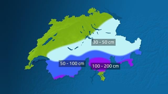 Karte mit erwarteter Neuschneemenge. Im Süden sind bis zwei Meter Neuschnee möglich.