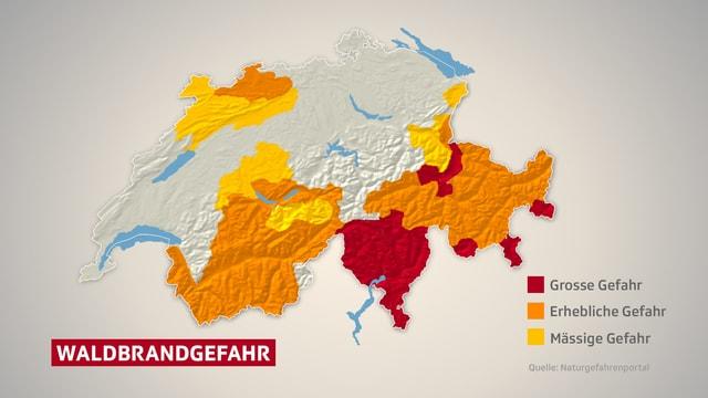 Karte mit eingezeichneten Gebieten in denen Waldbrandgefahr herrscht.