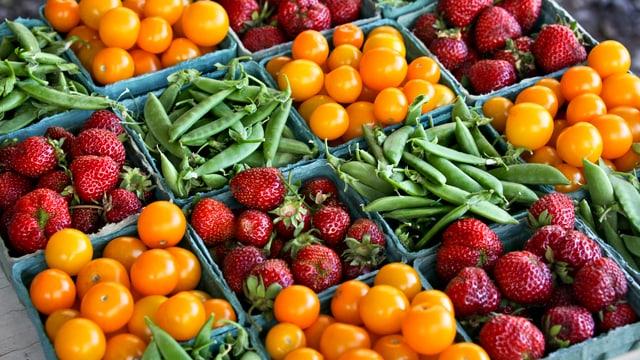 Symbolbild: Erdbeeren, Bohnen und gelbe Tomaten in Verkaufsschalen.