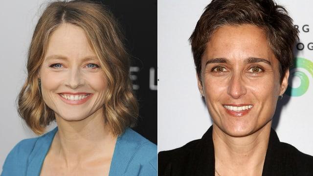 Jodie Foster und Alexandra Hedison lächelnd in zwei separaten Aufnahmen.