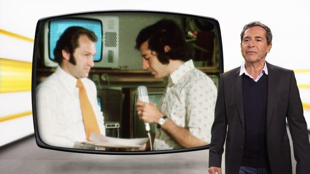 Roger Schawinski vor Bild aus Beitrag im Jahr 1974
