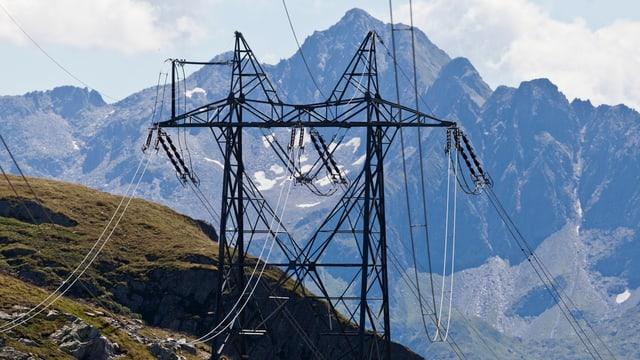 Hochspannungsleitung in den Alpen