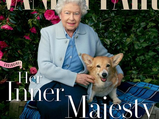 Die Queen auf dem Cover der Vanity Fair mit ihren vier Hunden.
