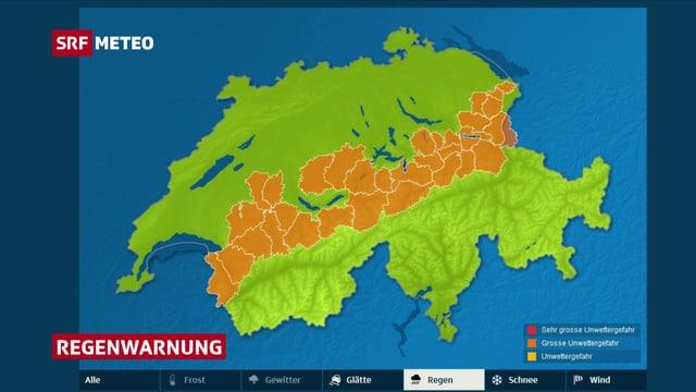 Schweizer Karte mit Regenwarnungen.