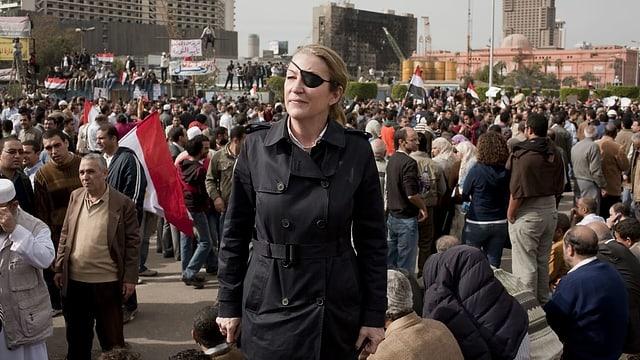 Marie Colvin 2012 auf dem Tahrir Platz in Kairo