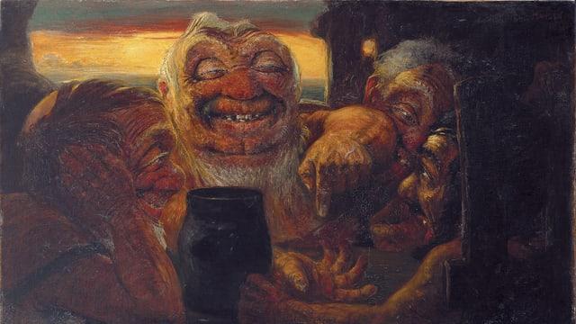 Ein Gemälde: Drei düstere Gestalten sitzen vor einem schwarzen Kessel.