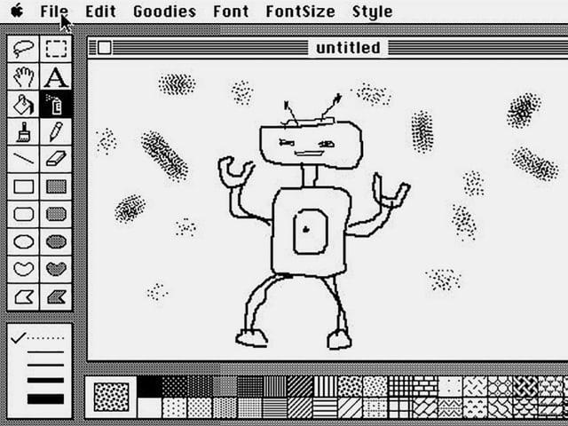 Einfacher Strichroboter mit Macpaint gezeichnet.