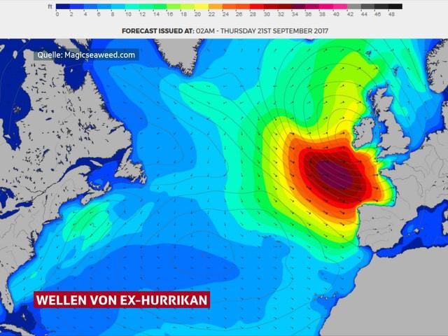 Karte der Wellenhöhen im Nordatlantik zeigt sehr grosse Wellen vor der französischen Atlantikküste.
