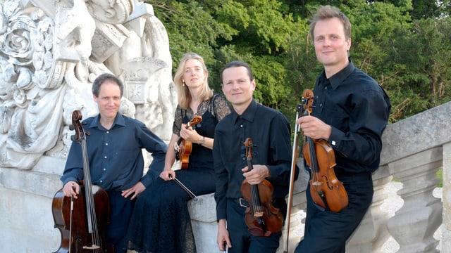4 Musiker (3 Männer, 1 Frau) mit Streichinstrumenten.