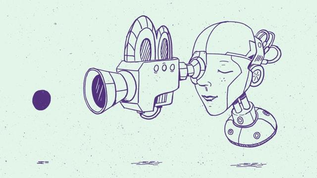 Eine Roboterfrau blickt durch eine Filmkamera auf einen schwarzen Punkt.