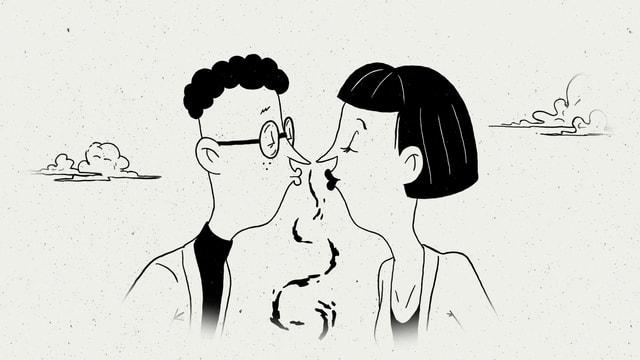 Eine Illustration von Nino Christen zeigt ein verliebtes Paar.