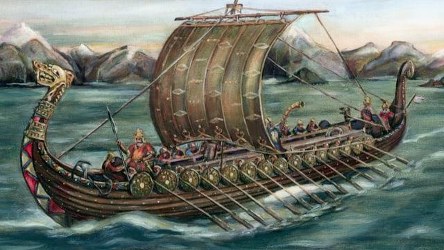 Ein Wikingerschiff auf hoher See.