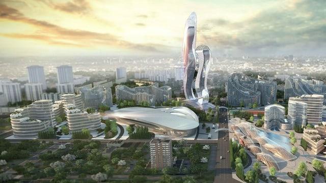 Computermodell von Akon City, die Stadt soll in Senegal entstehen.