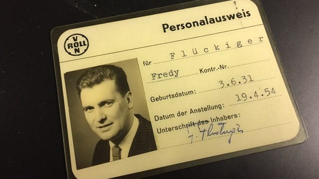 Personalausweis der Firma Von Roll von 1954