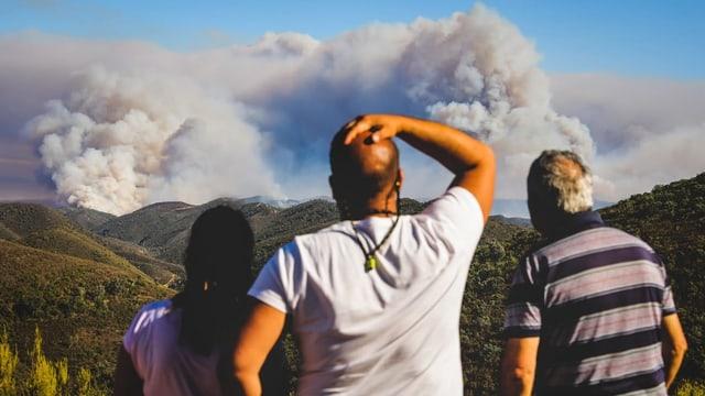 Menschen beobachten einen Waldbrand in Portugal