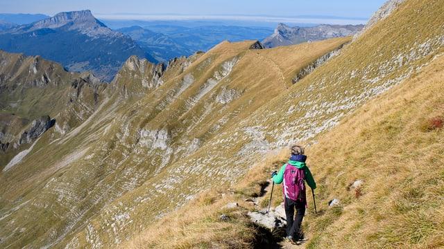 viandanta en las muntognas sur Lucerna