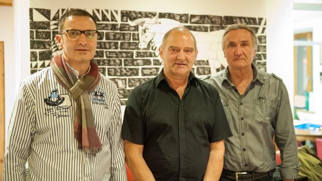 Giusep Caduff, Ignaz Derungs e Kurt Frei (da sanester