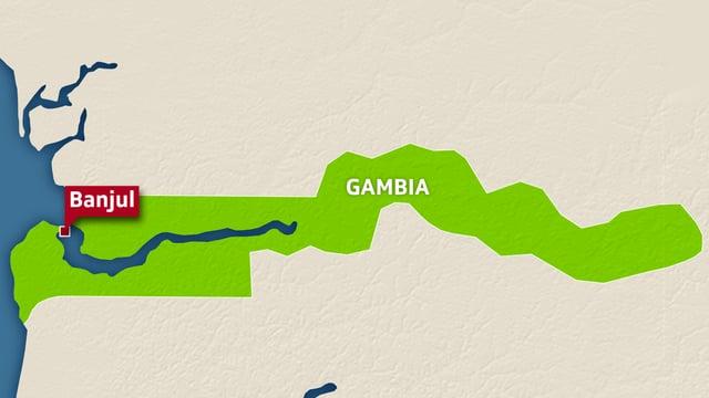 Karte von Gambia in Westafrika.
