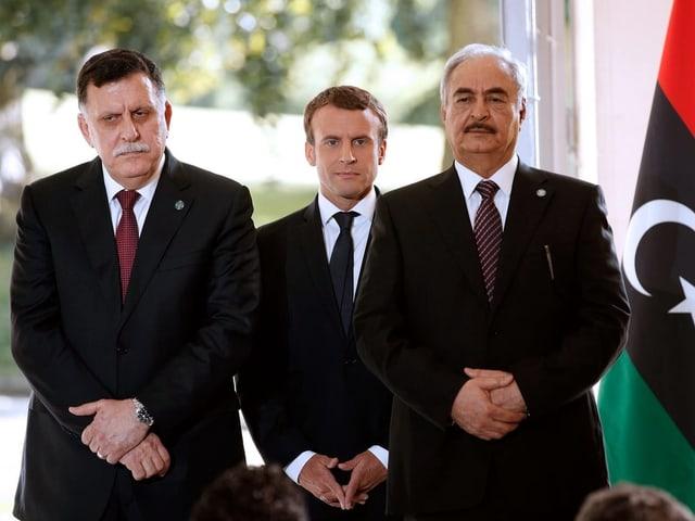 Sarradsch, Macron, Haftar