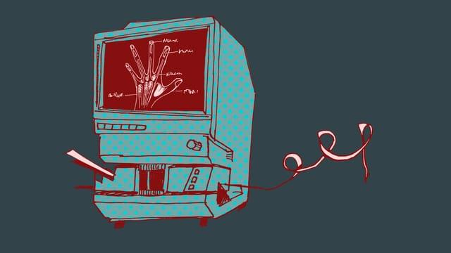 Illustration eines Mikrofilm-Lesers.