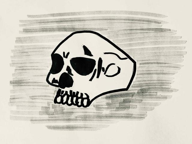 Zeichnung von Keith Richards Totenkopfring