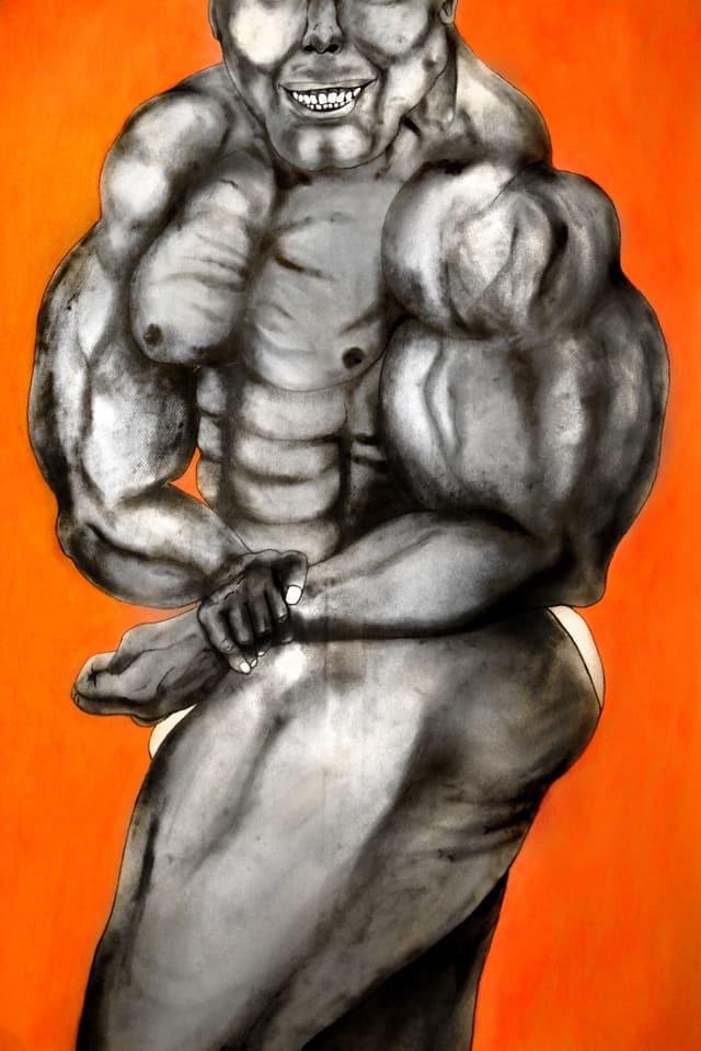 Zeichnung: Mann in Bodybuilderpose.