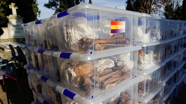 Menschliche Knochen in Plastik-Behältnissen