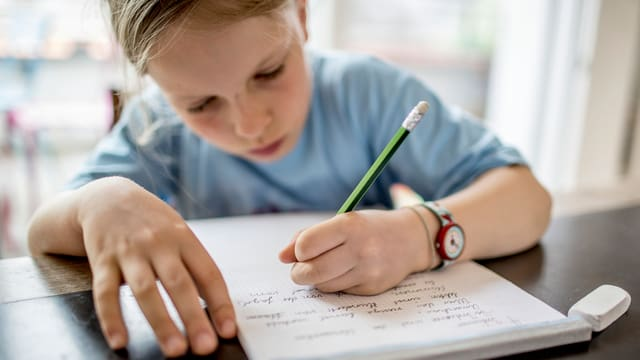 In scolar en scola che scriva.