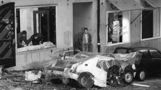 Das zerstörte Auto von Bélier-Aktivist Christophe Bader.