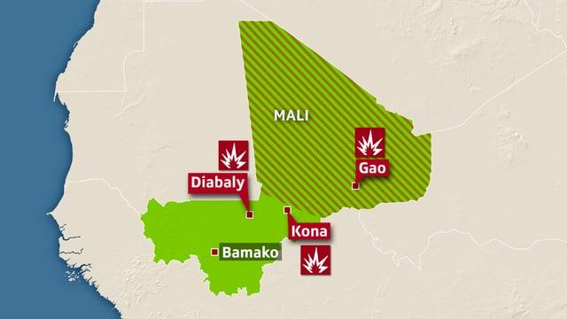 Karte Malis mit markierten Orten umkämpfter Orte