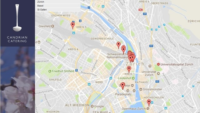Screenshot eines Google-Maps-Ausschnitt von der Homepage des Candrian-Imperiums