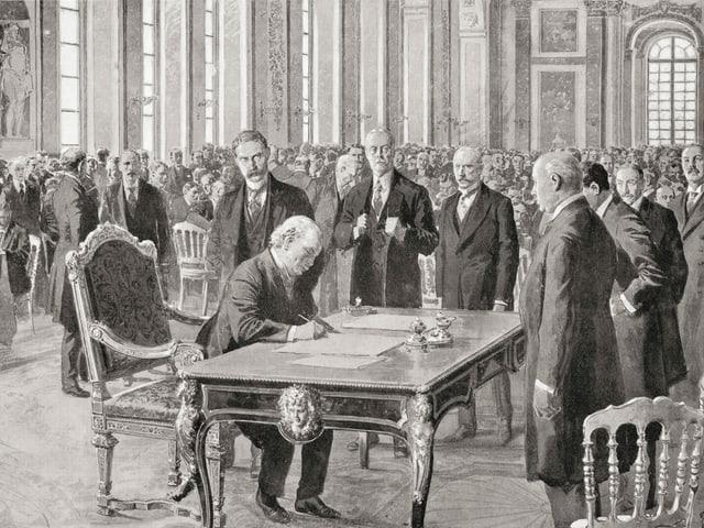Historische Zeichnung, Unterzeichnung eines Vertrags