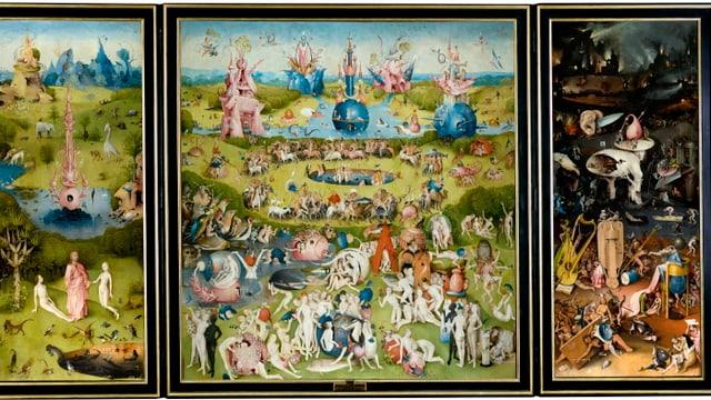Ein dreiteiliges Bild, das den Garten Eden sowie die Zerstörung durch den Menschen zeigt.