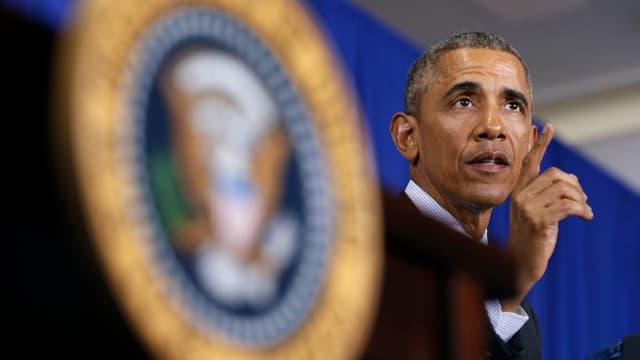 Präsident Obama bei einer Ansprache im Weissen Haus, aufgenommen am 19. Februar