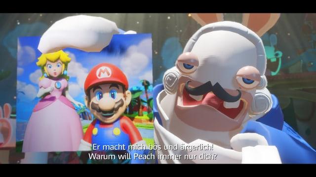 """""""Er macht mich bös und ärgerlich, warum will Peach immernur dich?!"""" singt der Boss als er ein Foto von Mario und Peach in die Höhe hält."""