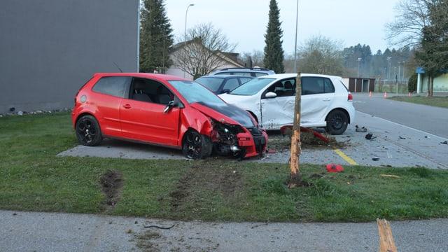 Zwei kaputte Autos und ein kaputter Baum