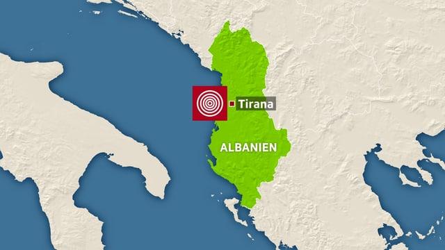 Karte von Albanien.