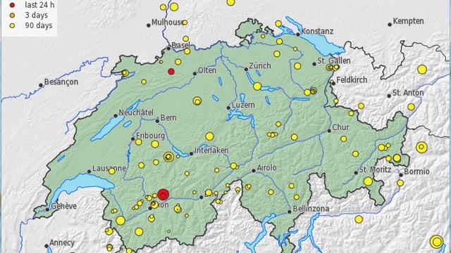 Schweizer Karte mit Markierungen der registrierten Erdbeben in den letzten 90 Tagen.