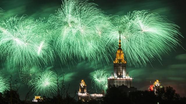 La festa da victoria a Moscau è ida a fin sonda saira cun in grond fieu artifizial.
