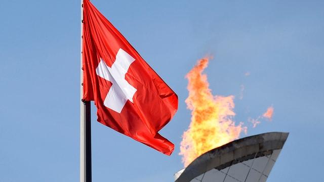 Olympisches Feuer und die Schweizer Flagge - keine Option für den Kanton Wallis.